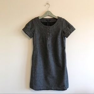 Gap | Gray Wool Blend Sheath Button Neckline Dress